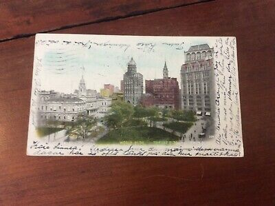 Postcard Private Mailing Card City Hall World Tribune Times Buildings New York