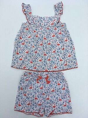 Ex Boden Woven Pyjama Set Floral Flamingo Ex Mini Boden Age 2-10 Years RRP £22