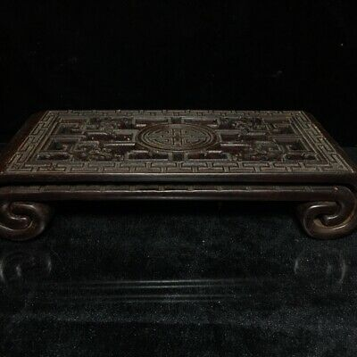 """12"""" Chinese antique huanghuali wood handcarved pine tree base statue"""
