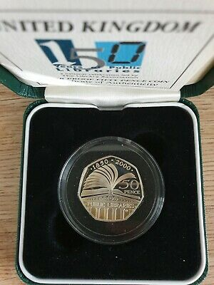 2000 Public Libraries 150 years Silver Proof 50p coin with COA and Box