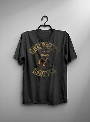 T-Shirt Rolling Stones  Mens Black Vintage Style 1978