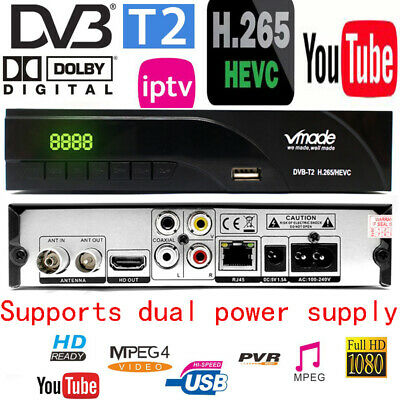 Newest DVB-T2 Digital Receiver Supports FTA H.265/ HEVC DVB-T H264 Tv Tuner RJ45