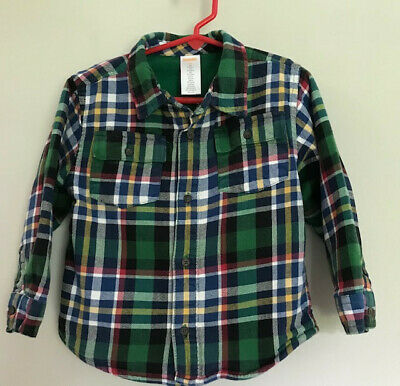 Gymboree Boys/toddler Plaid Fleece Lined Long Sleeve Button Front Shirt Size 3T