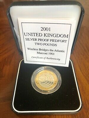 UK Silver £2 Piedfort Proof Coin Royal Mint Marconi In Case + C.O.A 2001