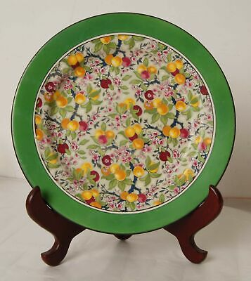 1x Vintage Crown Ducal Fruit Pattern Plate with Green Band 25.5 cm