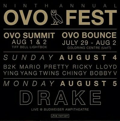 2 Tickets - Drake Ovo Fest 2019 - 2 Day Pass - Section 201 Aisle Prime