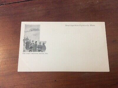 Postcard Private Mailing Card Greetings Plymouth Massachusetts First Meeting Hou
