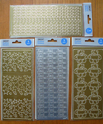 4x Sheets of Gold & Silver Outline Stickers for Card Making & Scrapbooking