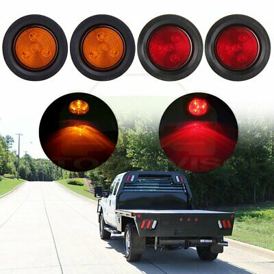 4X Amber&Red 4LED 2.5 Round Running Tail Light Turn Side Marker For Kenworth