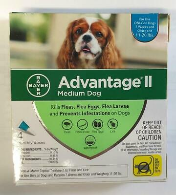 NEW 4 Doses Bayer Advantage II Medium Dog 11-20lbs Topical Flea & Lice Treatment