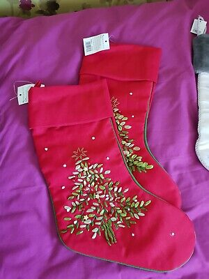 Red Christmas Stocking Pair Luxury His & Hers
