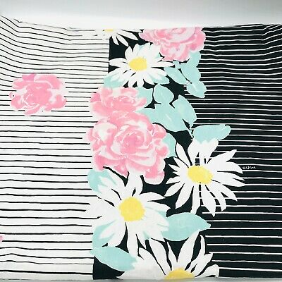 Vintage Vera Neumann Black & White and Floral Table Cloth Bold Tablecloth Cotton
