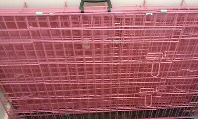"Easipet Pink Dog Puppy Metal Training Cage Crate Carrier 42"" (£39.99 new)"