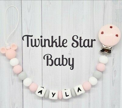 Personalised Wooden Dummy Clip 4x Crochet Beads Girl Pink Baby Girls Grey Love