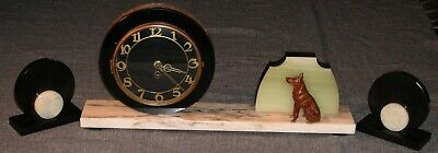Vintage Deco 3 Piece Clock Garniture Collie Dog Black Slate White Swirl Marble