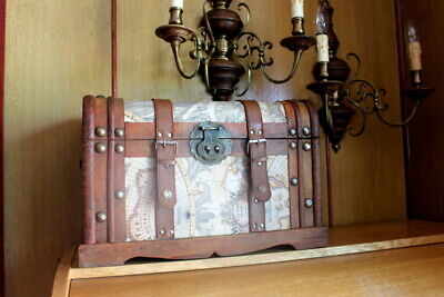 Antique French Vintage Treasure wooden box with straps world map cover 46 cm