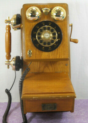 Vintage Spirit of St Louis Wall Phone Telephone Replica Wood And Metal Finish