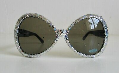 New Elton John Style Novelty Sunglasses Costume Glitter Oval 70s Retro Glasses
