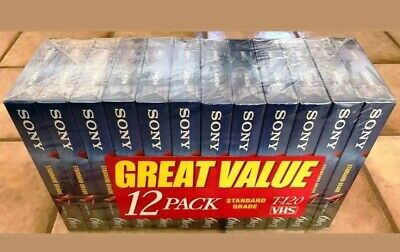 12 SONY T-120VF Blank VCR VHS Tapes Video Cassettes 6 hr Recordable Media SEALED