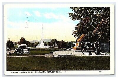 Vintage Postcard Civil War High Water Mark Monuments Gettysburg PA 1927 I15