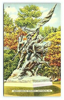 Vintage Postcard Civil War North Carolina Monument Gettysburg PA I15