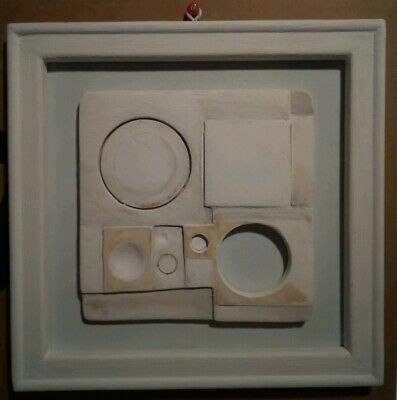 BEN NICHOLSON White Relief with ochre and grey. Good condition.