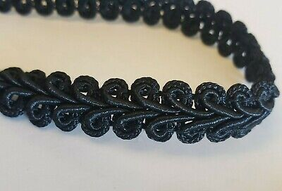 "NEW By The Yard - 1/2"" Black Gimp Braid - Sewing Upholstery Trim Costume Craft"