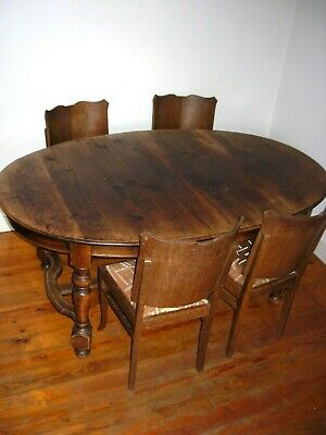 antique grande oval table manqée en bois massive en chaine  4 chaise art deco