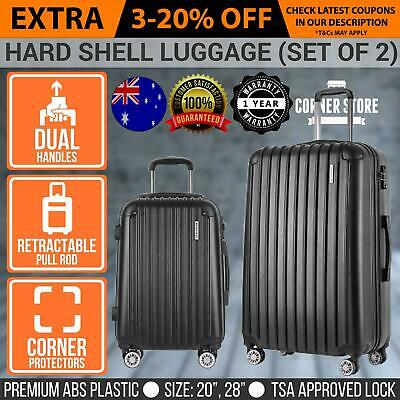 2PCS Luggage Suitcase Trolley TSA Travel Carry On Bag Hard Case Lightweight