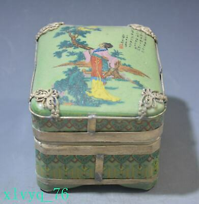 Jewelry Storage - Oriental Chinese Mid-Century Brass Green Jewelry Box
