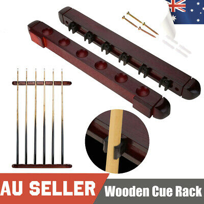 6 Clips Billiard Snooker Wooden Stick Holder Cues Rack Pool Wall Mounted
