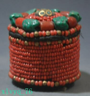 Old Chinese Tibetan red agate turquoise jewelry box