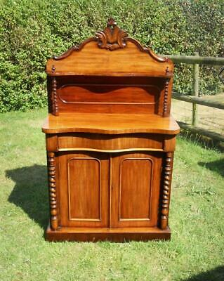 Antique Victorian Mahogany Small Chiffonier Sideboard Barley Twist Detail, Shelf