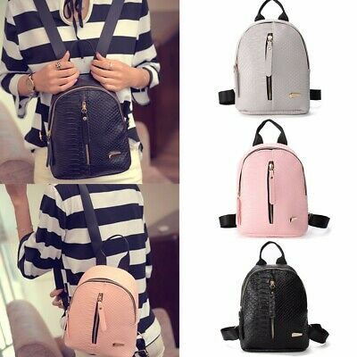 Women Girls PU Leather School Backpack Shoulder Bag Rucksack Travel Handbag Tote