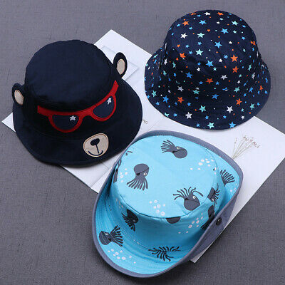 Toddler Kids Baby Boy Girls Cartoon Print Soft Visor Bucket Eaves Caps Pots Hats