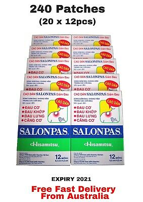 240 x Genuine Salonpas Hisamitsu Pain Patches Relieving Arthritis -10 X 12 Packs