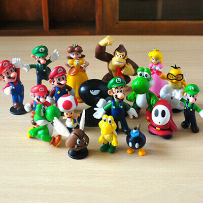 18 Pcs Super Mario Bros Action Figure Set Model Statue Kids Toy Cake Topper Gift