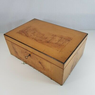 Antique 19th Century Satinwood ? Box With Pokerwork Decoration Robert Burns?