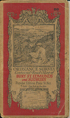 1921 Ordnance Survey Map No 86 One-Inch Bury-St-Edmunds and surrounding area