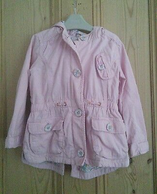 Next Girls 2-3 Years Dusky Pale Pink Coat Jacket Hood Floral Lined