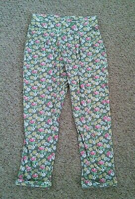 Girls Next Denim Green Floral Harem Pants Baggy Trousers Leggings Age 3-4 Years