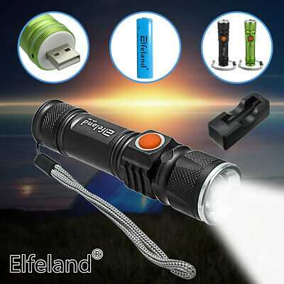 30000LM T6 LED Zoomable Flashlight USB Rechargeable 18650 Torch Lamp Light  ❤