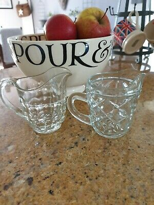 Vintage Glass jug x 2  perfect for a little tea light if not in use as a jug!