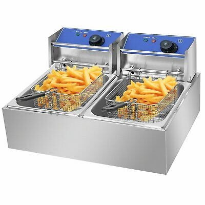 5000W 20L Commercial Electric Deep Fat Chip Fryer Dual Tank Stainless Steel NEW