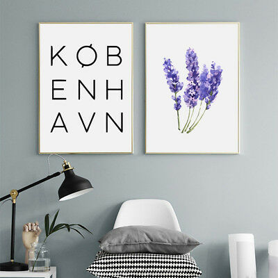 KF_ Nordic Letters Flower Canvas Wall Poster Painting Living Room Home Decor E