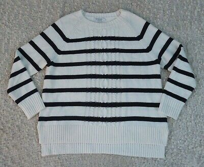 SPORTSCRAFT black and white long sleeve wool/cotton blend knit jumper, Size XL