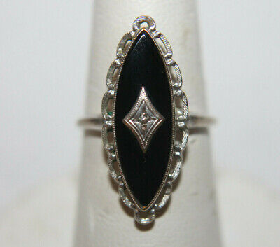 Gorgeous Vintage Antique Art Deco Nouveau Diamond Black Onyx 10K White Gold Ring