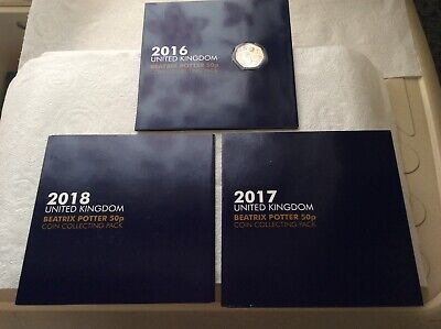 2016, 2017, 2018 Beatrix Potter Change Checker Albums with Uncirculated Coins