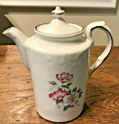 HOUSE OF WEBSTER CERAMICS TEXAS HWE1 WILD BRIAR ROSE TEAPOT w/ STAINED CRACK