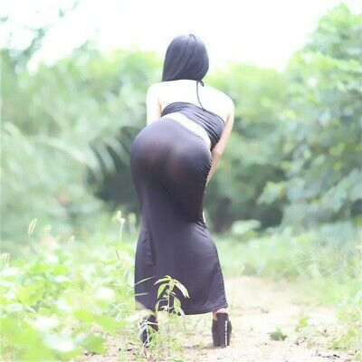 Women See Through Long Skirt Bodycon Bandage Transparent Stretch Sheer Sexy Hot